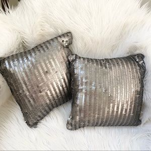 Set of two small square bronze sequins pillows